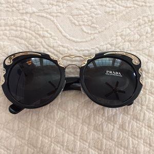 Authentic Prada Women's Black Round Sunglasses